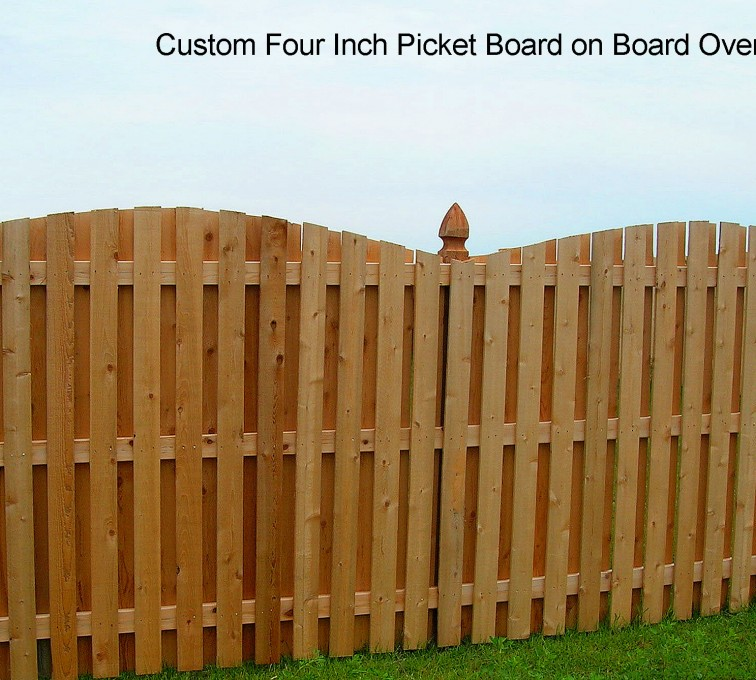 Rochester Fence Company - Wood Fencing, 1048 1x4x4 Board on Board overscallop