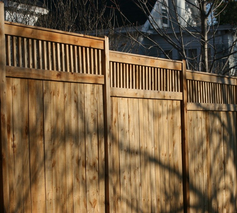 AFC Rochester - Wood Fencing, 1054 Custom Solid with Accent Top
