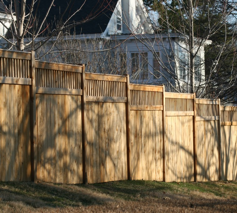 AFC Rochester - Wood Fencing, 1057 Custom Solid with Accent Top