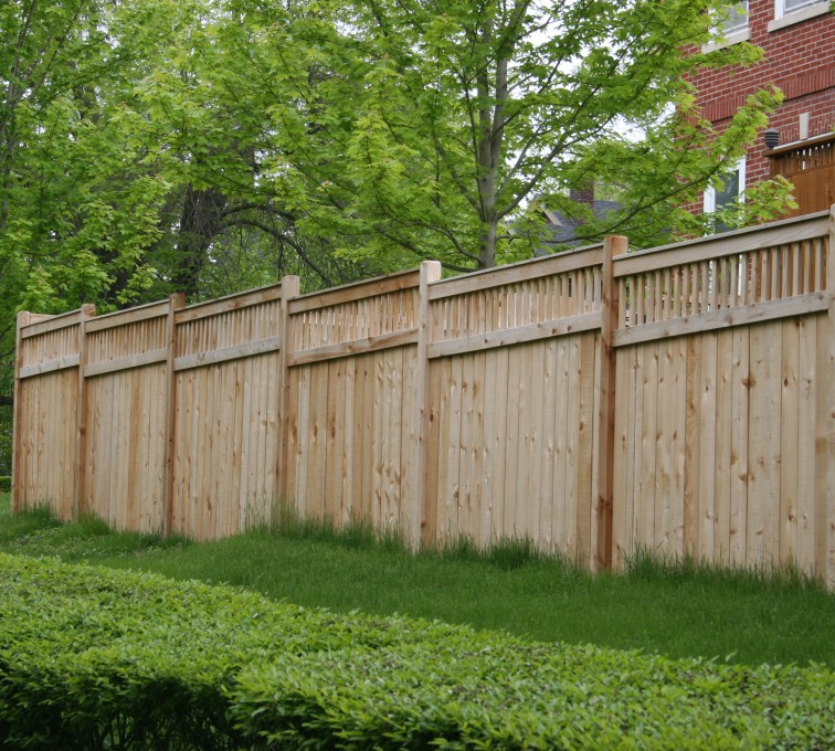Rochester Fence Company - Wood Fencing, 1064 Custom Solid with Accent Top