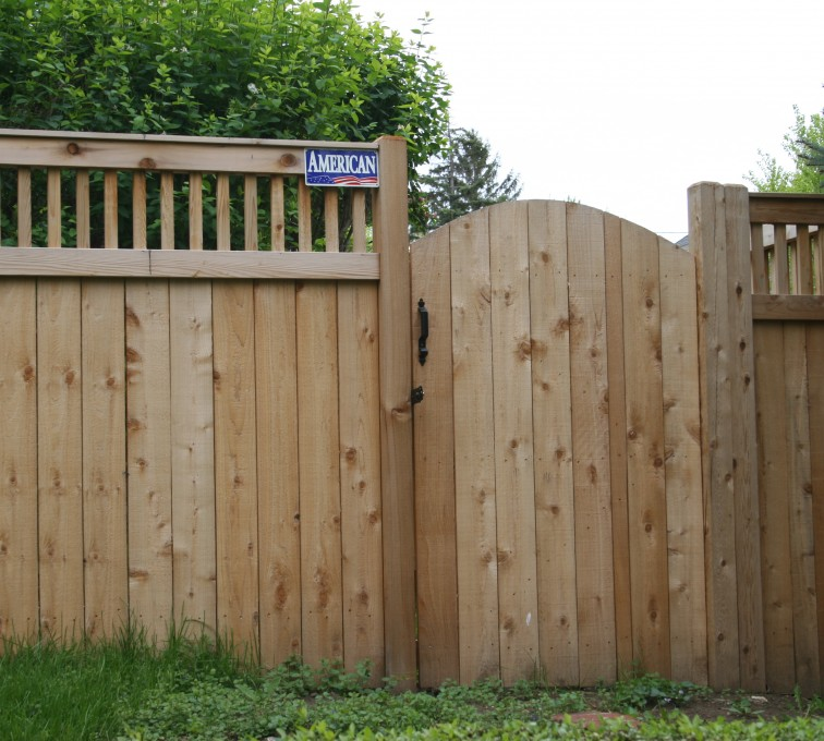 Rochester Fence Company - Wood Fencing, 1065 Custom Solid with Accent Top Gate