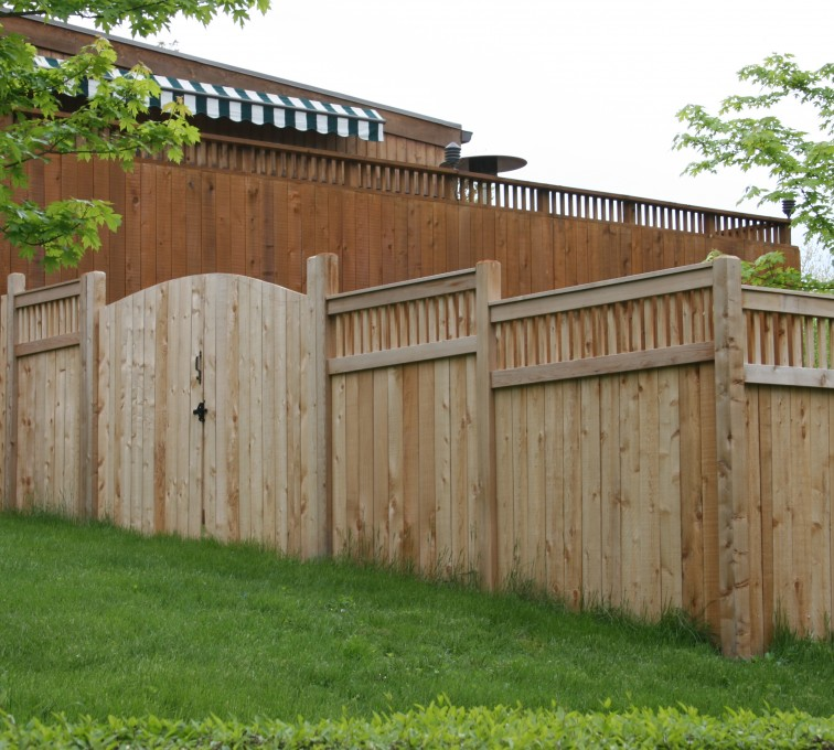 Rochester Fence Company - Wood Fencing, 1066 Custom Solid with Accent Top Gate