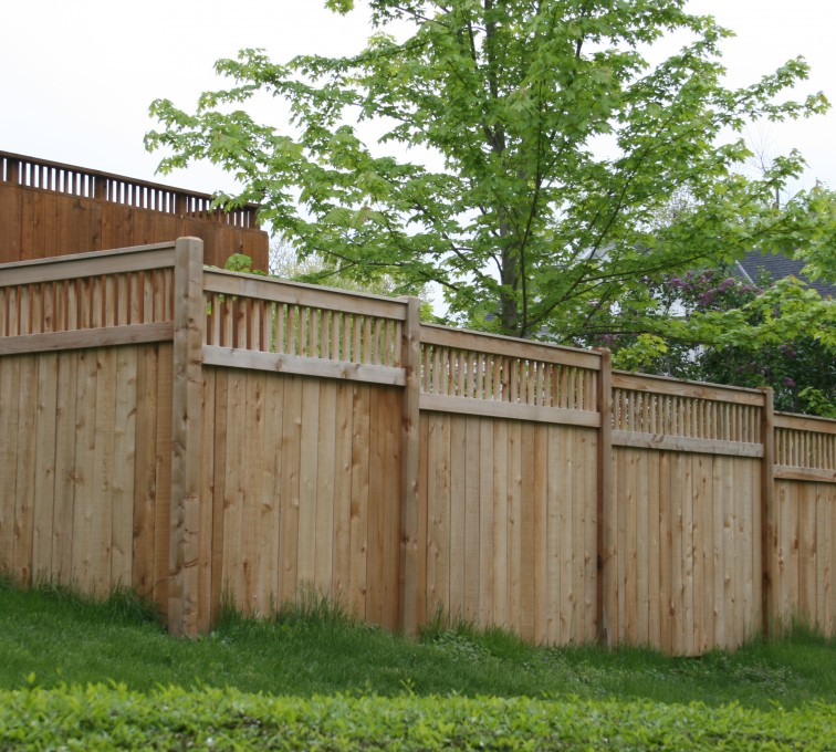 Rochester Fence Company - Wood Fencing, 1067 Custom Solid with Accent Top