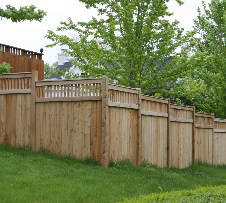 Rochester Fence Company - Wood Fencing, 1068 Custom Solid with Accent Top