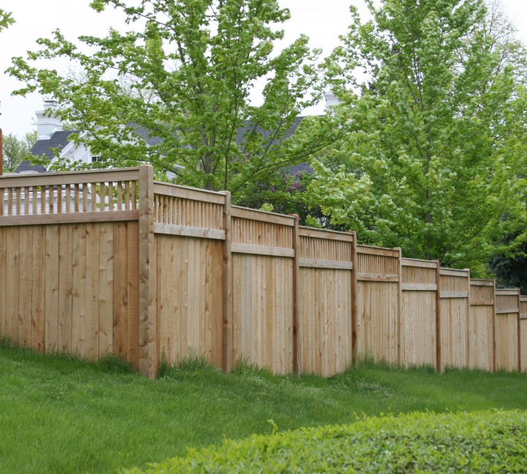 Rochester Fence Company - Wood Fencing, 1069 Custom Solid with Accent Top