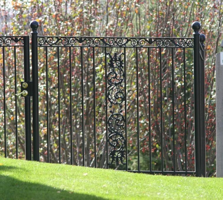 AFC Rochester - Custom Iron Gate Fencing, 1209 Ornamental Iron gate with Scroll