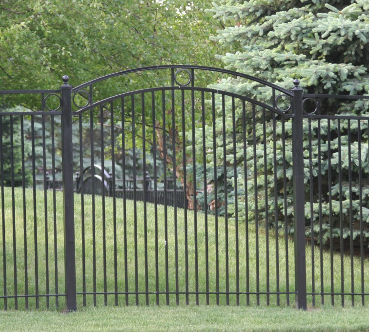 AFC Rochester - Custom Iron Gate Fencing, 1212 Overscallop panel with rings