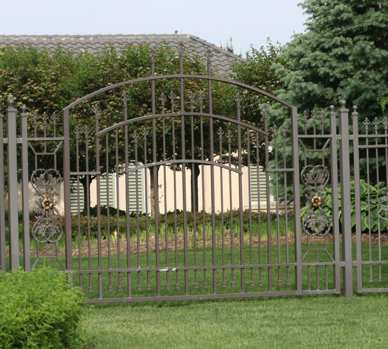 AFC Rochester - Custom Iron Gate Fencing, 1213 Overscallop panel with scroll work