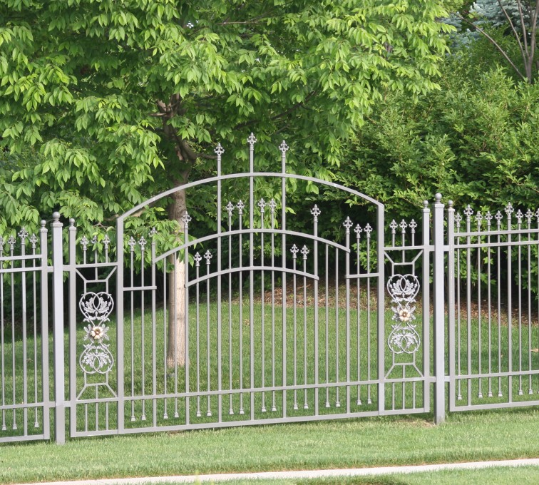 AFC Rochester - Custom Iron Gate Fencing, 1214 Overscallop panel with scroll work