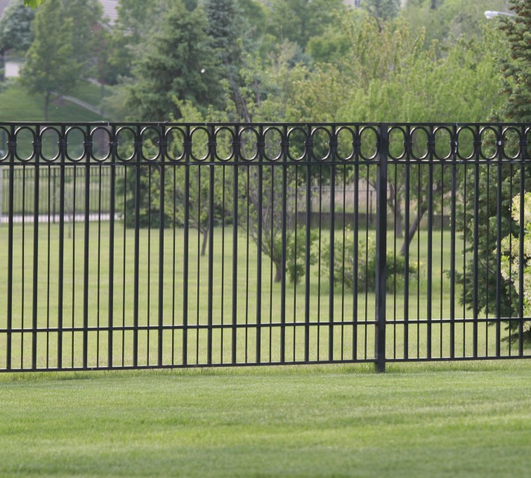 AFC Rochester - Custom Iron Gate Fencing, 1216 Alternating Picket with Ovals