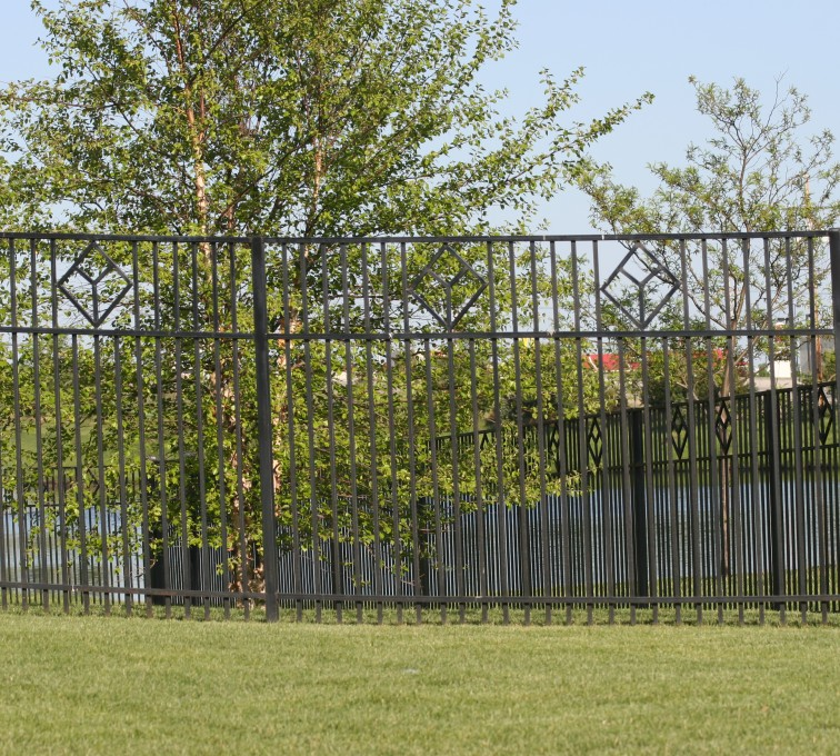 AFC Rochester - Custom Iron Gate Fencing, 1217 Picket with diamond accent