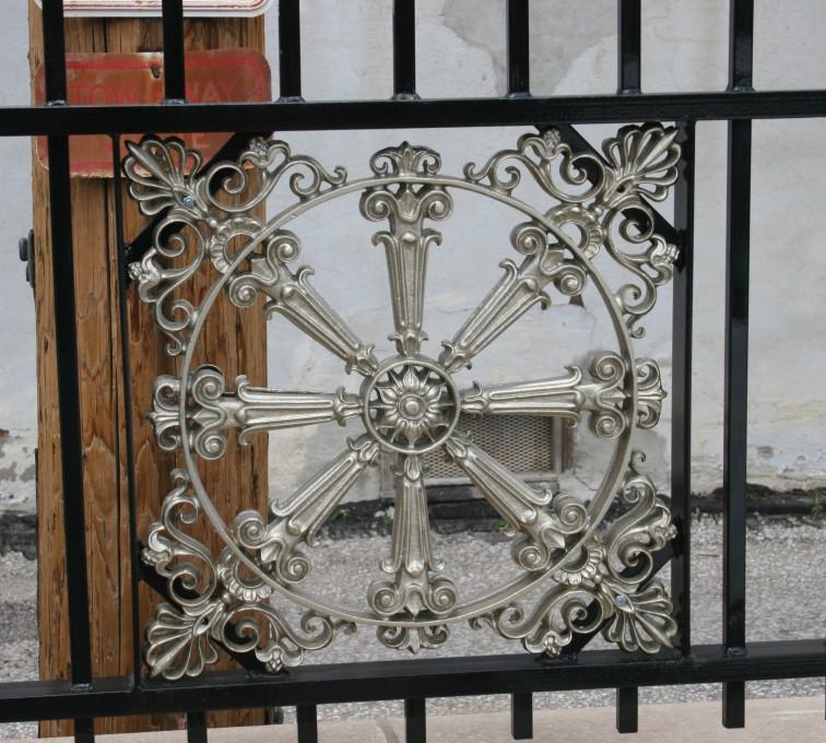 AFC Rochester - Custom Iron Gate Fencing, 1227 Emblem in Overscallop Ornamental