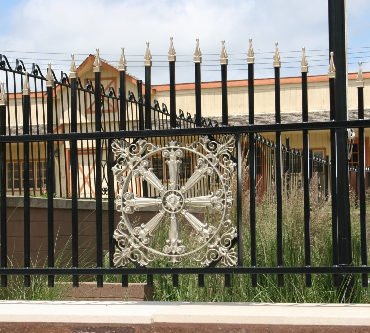 AFC Rochester - Custom Iron Gate Fencing, 1231 Overscallop with quadflare & emblem