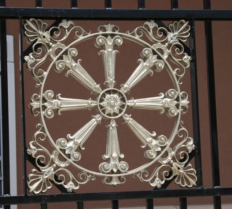 AFC Rochester - Custom Iron Gate Fencing, 1232 Overscallop with quadflare & emblem