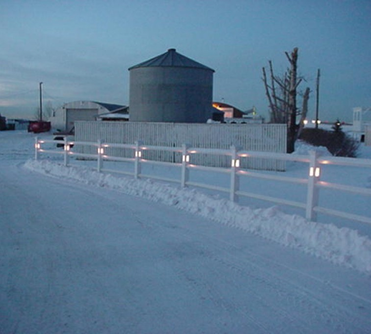 AFC Rochester - Vinyl Fencing, 2 Ranch Rail with lighted posts (950)