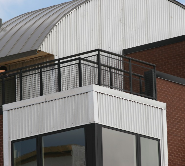 AFC Rochester - Custom Railing, 2202 Railing with mesh infill