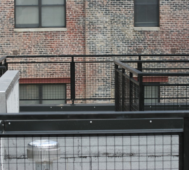 AFC Rochester - Custom Railing, 2204 Railing with mesh infill
