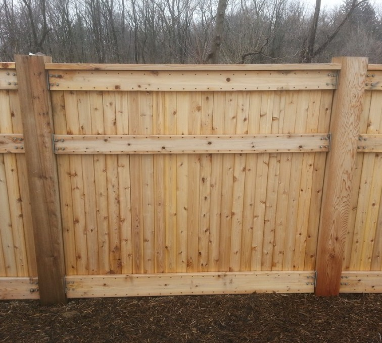 AFC Rochester - Wood Fencing, 6' Custom Wood With Stone Columns - AFC- IA