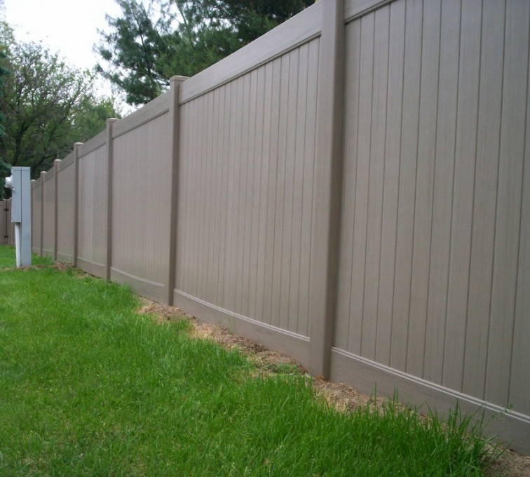 AFC Rochester - Vinyl Fencing, 6' Woodland Select Weathered Cedar Solid Privacy - AFC - IA
