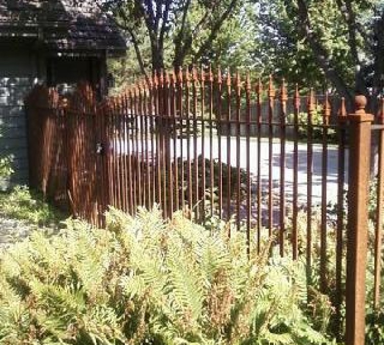 AFC Rochester - Custom Iron Gate Fencing, Customer Rusted Wrought Iron AFC, SD