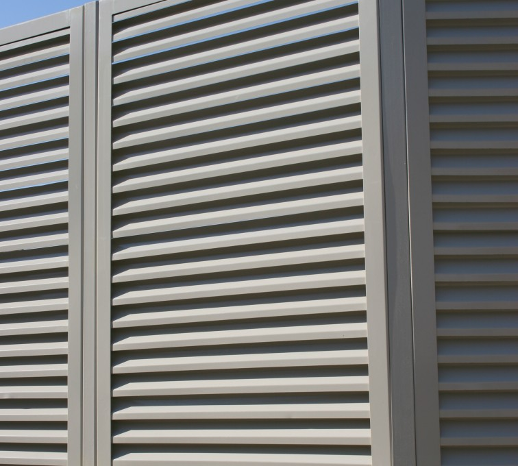 AFC Rochester - Louvered Fence Systems Fencing, Louvered Fence Panel Angled Post Connection