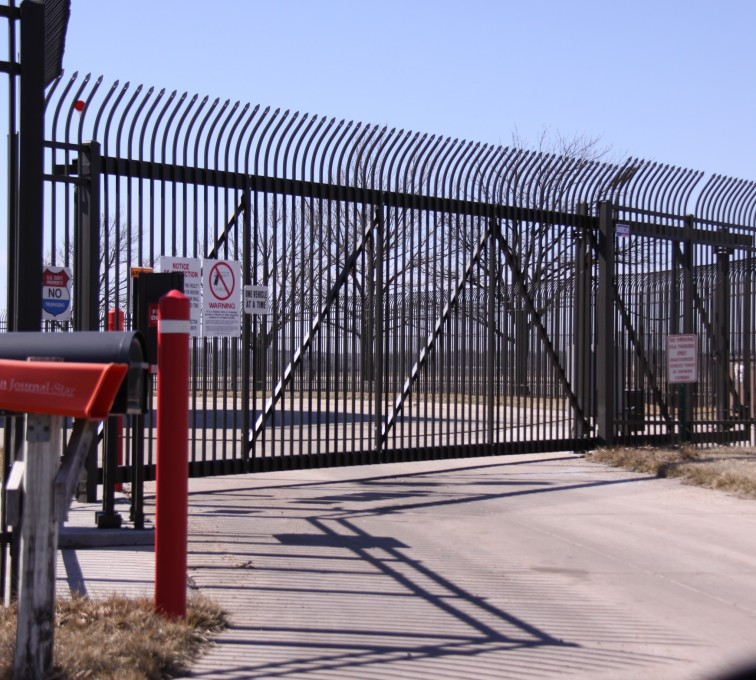 AFC Rochester - Custom Gates, Ornamental Slide Gate with Radius Picket Accent