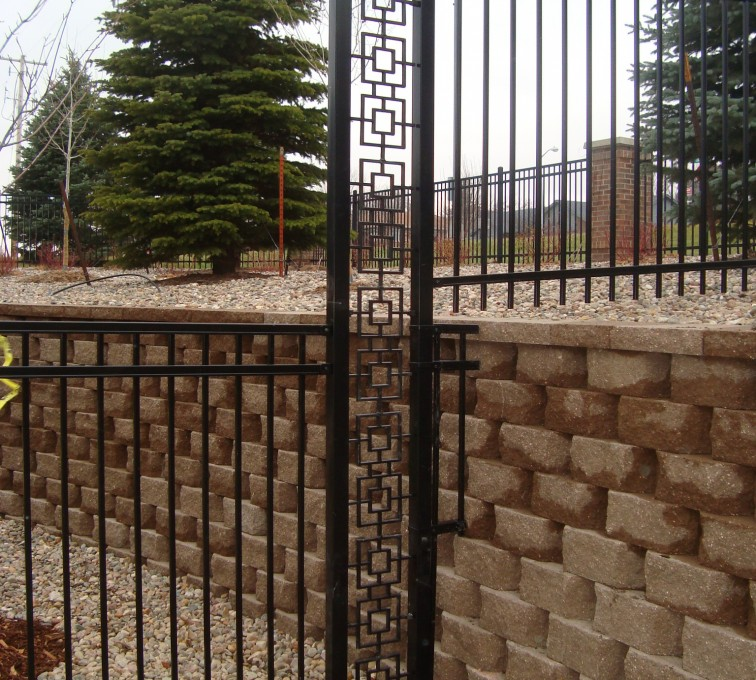 AFC Rochester - Custom Iron Gate Fencing, Retaining Wall Transition AFC, SD