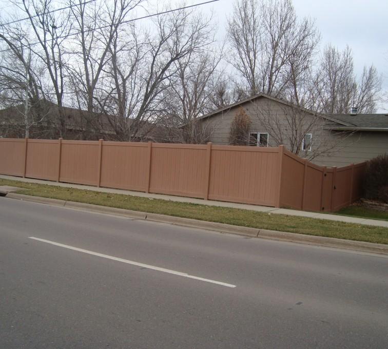 AFC Rochester - Vinyl Fencing, Solid Privacy Cedar Tone