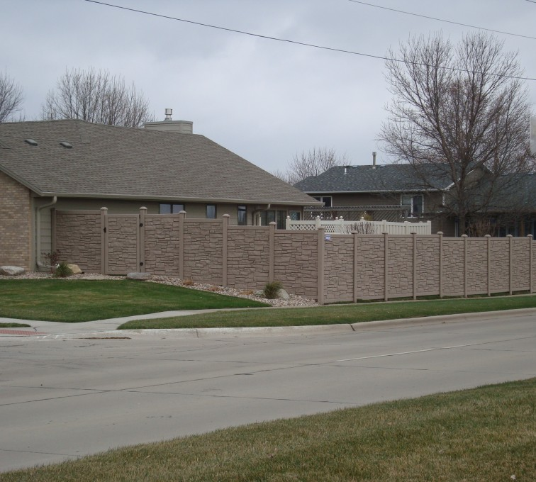 AFC Rochester - Vinyl Fencing, Solid Privacy Stone Accent