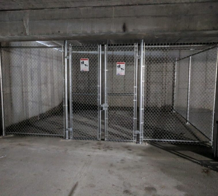 A fence enclosure with double drive swing gates
