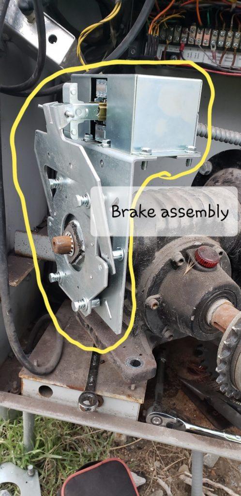 Close up in a gate operator of a brake mechanism